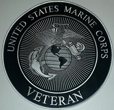 "United States Marine Corps Large  ""Veteran""   11 Inch Back Patch  Sewn / Iron On"