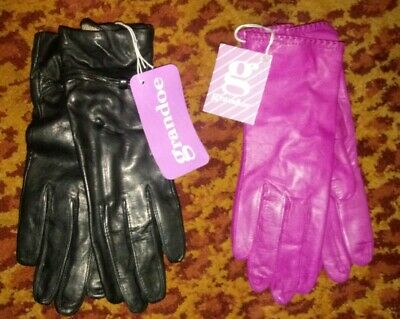 Vintage/ Nwt Lot Of 2@ Pair Grandoe Women's Leather Gloves Size Small - 6-1/2