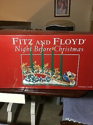 Fitz And Floyd Night Before Christmas Centerpiece Candleholder With Box