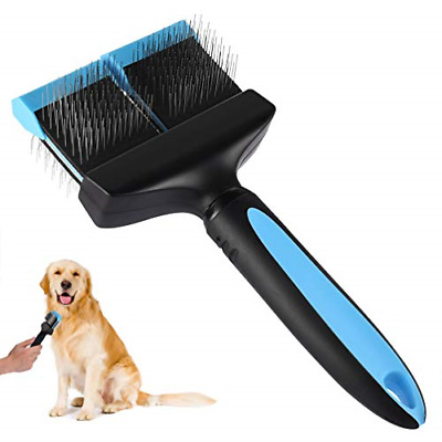 petacc Double Sided Pet Grooming Brush Flexible Dog Slicker with Non-slip Handle