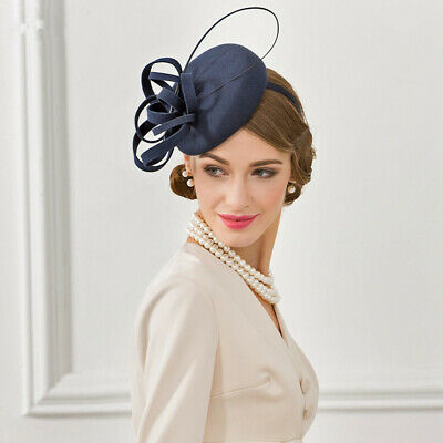 Women 1920s Vintage Style Wool Felt Ostrich Quill Fascinator Hat Cocktail A569