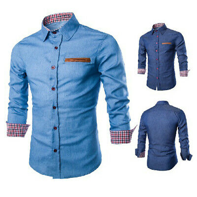 Luxury Mens Casual Stylish Slim Fit Long Sleeve Casual Formal Dress Shirts Top