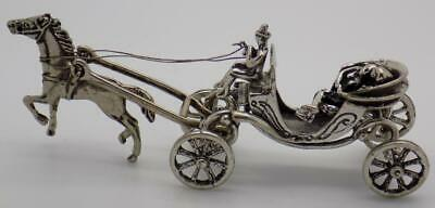 Vintage Solid Silver Italian Made Romantic Carriage Miniature Hallmarks Figurine
