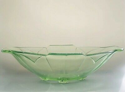 Stolzle Czech Art Deco 1930's Uranium Green Glass Oval Fruit Centrepiece Bowl