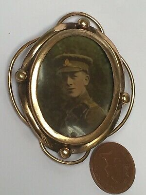 Large Antique Victorian Pinchbeck Double Sided Picture/Photograph Brooch Pin