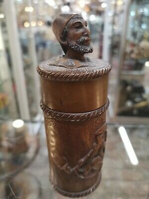 Possibly Black Forest Arabic Scene Smoking Carved Container Bust P000845_16