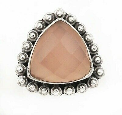 Faceted Rose Quartz 925 Solid Sterling Silver Ring Jewelry Sz 5.5 D16-1