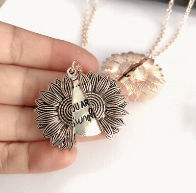 """Are Gifts Women's My Locket """"Open AN Necklace Pendant """"You Sunflower Sunshine"""