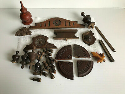 Collection of Vintage wooden Case parts Finials- Toppers Etc.