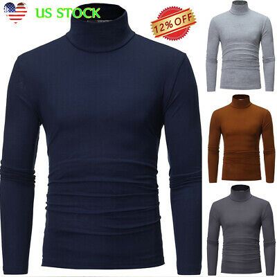 Men High Neck Stretch Long Sleeve Slim Fit Tops Turtleneck Blouse Muscle T-shirt