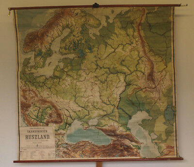Schulwandkarte Scandinavia Russia 190x179 ~ 1910 Vintage North East Europe Map