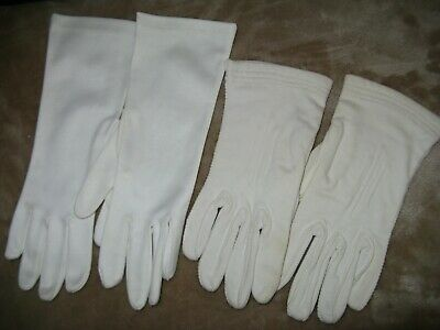 2 Pair Vintage Ladies White Dress Gloves