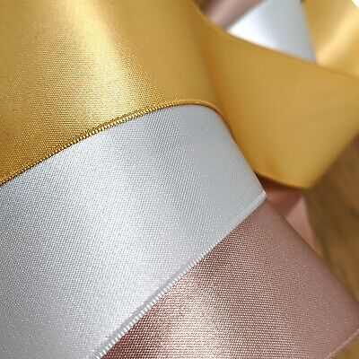 Luxury Gold Silver Rose Satin Ribbon 3mm-50mm Wide Thin Double Sided Cut Per 1M