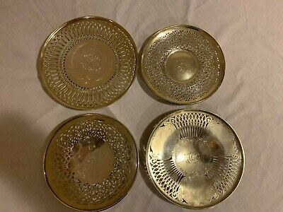 STERLING SILVER RETICULATED PLATE/Charger x4