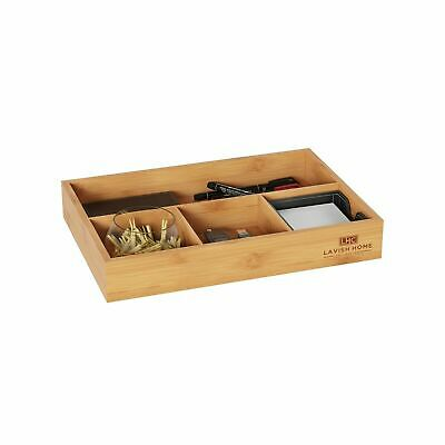 Wooden Bamboo Desk Drawer Organizer 11.5 x 8 In. Table Top Home Office Holder
