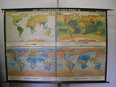 Schulwandkarte Atmosphere Der Earth Wind Sun T3 228x162 1964 Vintage World Map