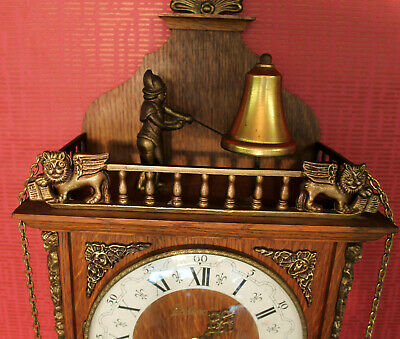 Old Wall Clock Chime Clock Regulator*BELCANTO*Man on top beating on the Bell