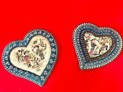 Two fine antique Chinese hand embroidery ear covers