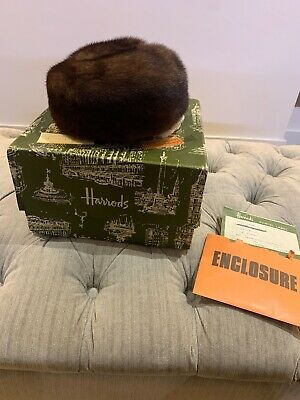 Vintage Harrods Real Mink Fur Pill Box Hat With Original Box And Invoice
