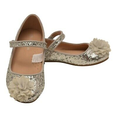 L'Amour Little Girls Silver Glitter Floral Special Occasion Flats 9 Toddler