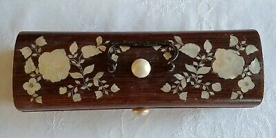 Antique Chinese Wooden Box Carved Mother of Pearl & Silver Inlay