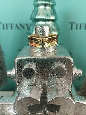Mens Tiffany Co. Gold Square Ring Wide Band 18k SZ 10.5 W Box Service Paperwork