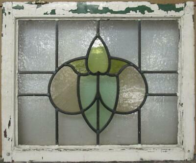 "MIDSIZE OLD ENGLISH LEADED STAINED GLASS WINDOW Pretty Abstract 25.25"" x 20.75"""