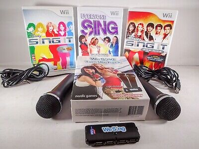 Nintendo Wii We Sing 2 Mic Pack + 4 Port USB and 3x Games