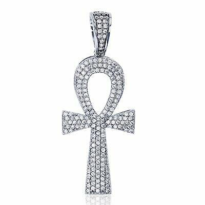 Sterling Silver Rhodium Egyptian Ankh Cross Symbol Of Life Dangling Pendant
