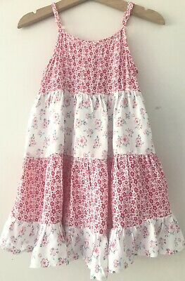 Pumpkin Patch Girls Floral Strappy Summer Dress Size 2 Pink Teal White