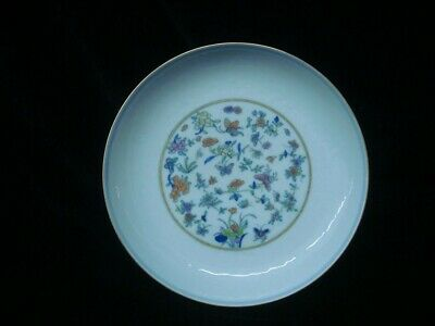 """Antique Chinese Hand Painting """"DouCai"""" Porcelain Plate Marked """"YongZheng"""""""