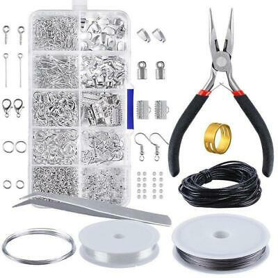 Jewelry Making Set Findings Starter Pliers Silver Beads Repair Tools Accessories