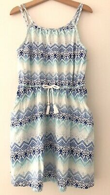 Target Girls Cotton Strappy Dress Size 9 Blue White