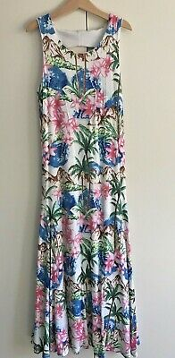 Girls Gum Pavement Tropical Long Maxi Dress Size 8 Pink Blue Green White Brown