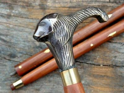 Antique Solid Brass lion Style Head Handle Designer Wooden Walking Stick Canes