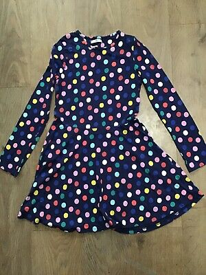 M&S Girls Age 13-14 Years Blue Multicoloured Dots Dress Long Sleeve H89