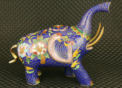 Asian old cloisonne hand painting Elephant statue figure table home decoration