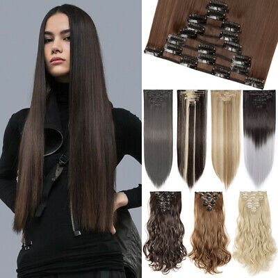 Clip in Natural Hair Extension Full Head 100%Real Thick Hair Any Color CLEARANCE