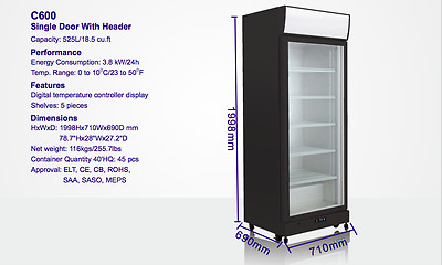 IGLOO Single Door 540L Commercial Upright Glass Display Drink Fridge RRP $1849