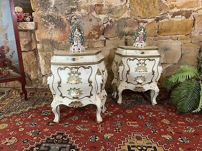 Pair Antique Vintage Florentine Style Bedside Tables~Chest Drawers~French Louis