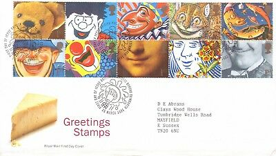 GB 1991 Greetings - Smiles booklet pane of 10 on First Day Cover, Bureau -SALE