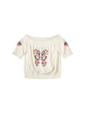 John Lewis & Partners Girls' Embroidered Off Shoulder Top White 14 YEARS