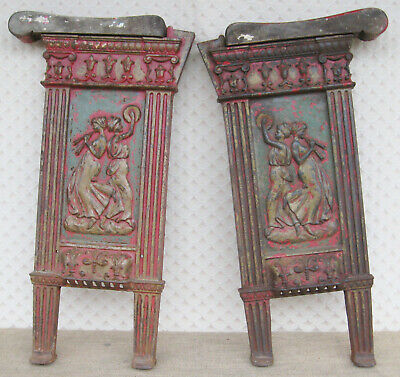Unusual pair of Vintage Cast Iron Theatre Cinema Bench Seat Ends Original paint