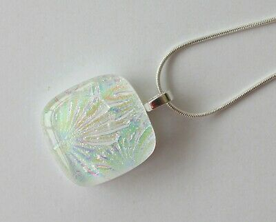 Fused Glass Art Handmade White And Rainbow Glass Pendant Necklace Jewellery