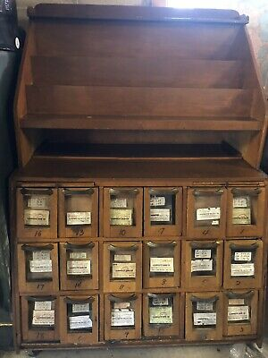 Antique Hardware Store/Country Store Seed Cabinet and Seed Jar Display Retail