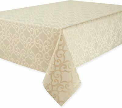 """Waterford Linens - Sorelle - 70"""" x 104"""" Oblong Tablecloth - Beige"""