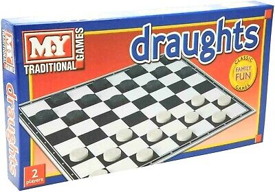 Classic Draughts Checkers Game Family Kids Fun Traditional Folding Board Game