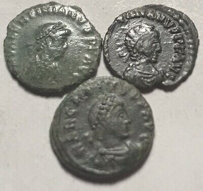 Lot Ancient Roman coins Thessalonica Valentinian/Arcadius/Victory Chi-rho wreath