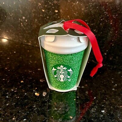 Starbucks 2019 Holiday / Christmas Green Glitter Cup Ornament - Mip