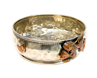 Gorham Sterling Silver Mixed Metal Aesthetic Movement Hand Hammered Bowl #385.